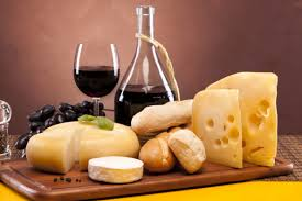 red wine and cheese platter